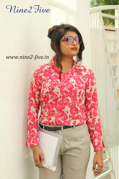 Cherry Red Floral Print Crepe Formal Shirt. Full Sleeves With Cuff. Shirt Collar. Buttoned Front. Regular Fit Shirt . It can be machine washed in cold water. Model of 5 feet 4 inches is wearing S Size