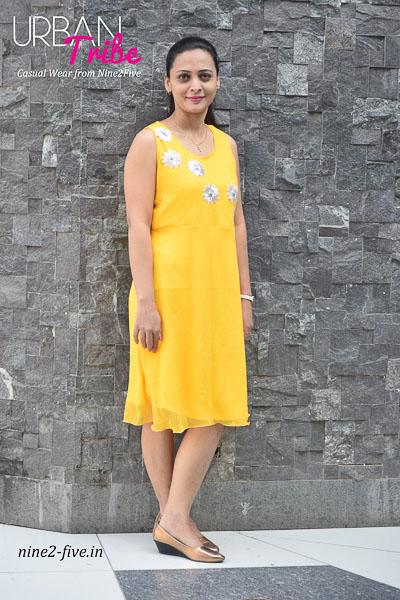 Nine2Five Dress, Yellow Dress, Short Dress, Cutwork Dress