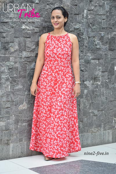 Floral Print Red Polymoss Floor Length dress. Shoulderless. String on Neck. Sleeveless.. It can be machine washed in cold water. Model of 5 feet 4 inches is wearing S Size