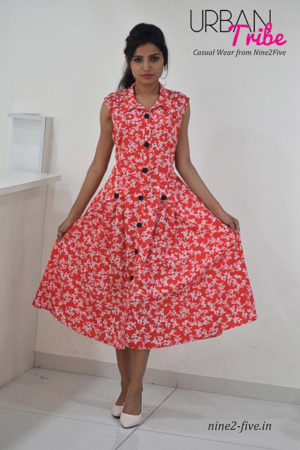 Nine2Five Dress, Midi Dress, Red Midi Dress, Printed Midi