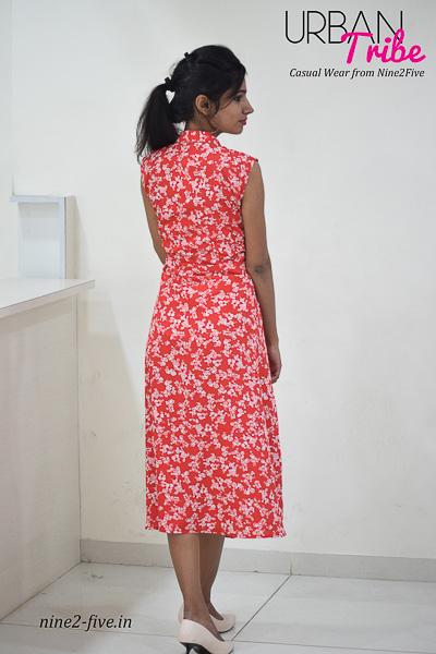 Nine2Five Dress, Midi Dress, Red Midi Dress, Printed Midi