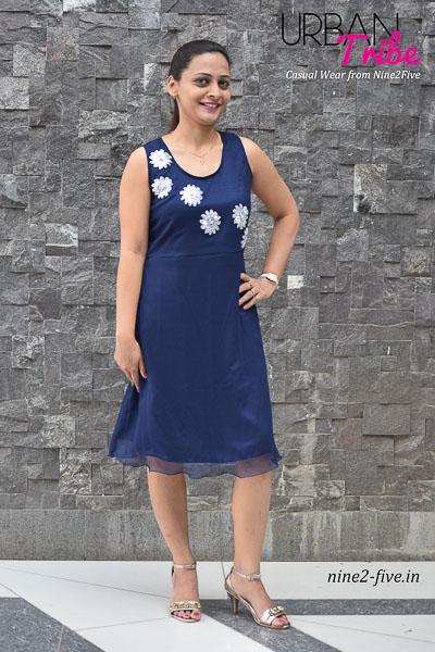Nine2Five Dress, Short Dress, Blue Dress, Cut work Dress