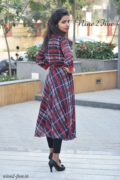 Nine2Five Ankle Length Dress, Dress, Ankle Length Dress, Checks Print Ankle Length Dress, Printed Ankle Length Dress