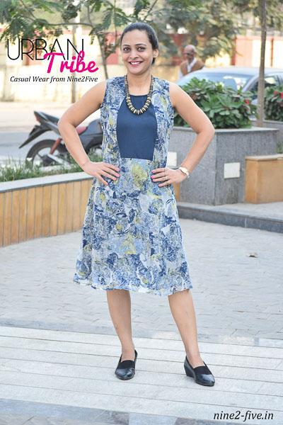 Nine2Five Short Dress, Short Dress, Blue Short Dress, Blue Dress, Floral Dress, Printed Short Dress, Sleeveless Dress, Chiffon Dress