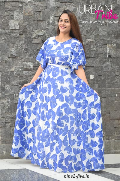 Butterfly Print Polymoss. Floor Length Dress. Umbrella Sleeves. Round Neck. White Belt On Waist.White Satin Lining. It can be machine washed in cold water. Model of 5 feet 4 inches is wearing S Size