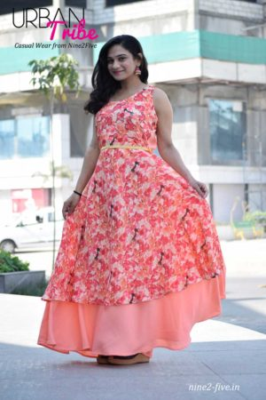 Nine2Five Long Dress, Long Dress, Floor Length Dress, Peach Color Long dress, Printed Long Dress, Two Layered Long Dress