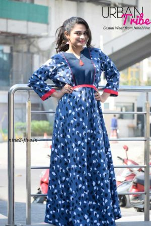 Nine2Five Dress, Long Dress, Floor Length Dress, Blue Long Dress, Printed Long Dress, Floral Printed Floor Length Dress