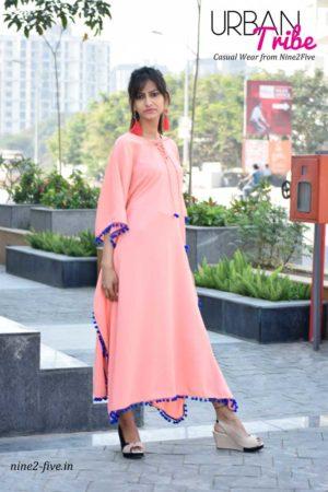Nine2Five Dress, Kimono Style Dress, Peach color Dress, Polymoss Dress