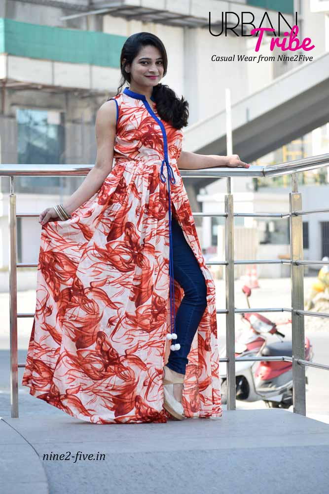 Nine2Five Dress, Red Floor Length Dress, Long dress, Floor Length Dress, Printed Dress