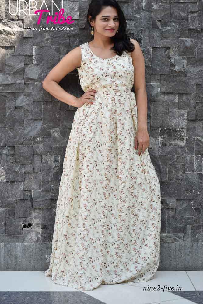 Nine2Five Dress, Long Dress, Floor Length Dress, Off White Long Dress, Crepe Floor Length Dress, Sleeveless Dress
