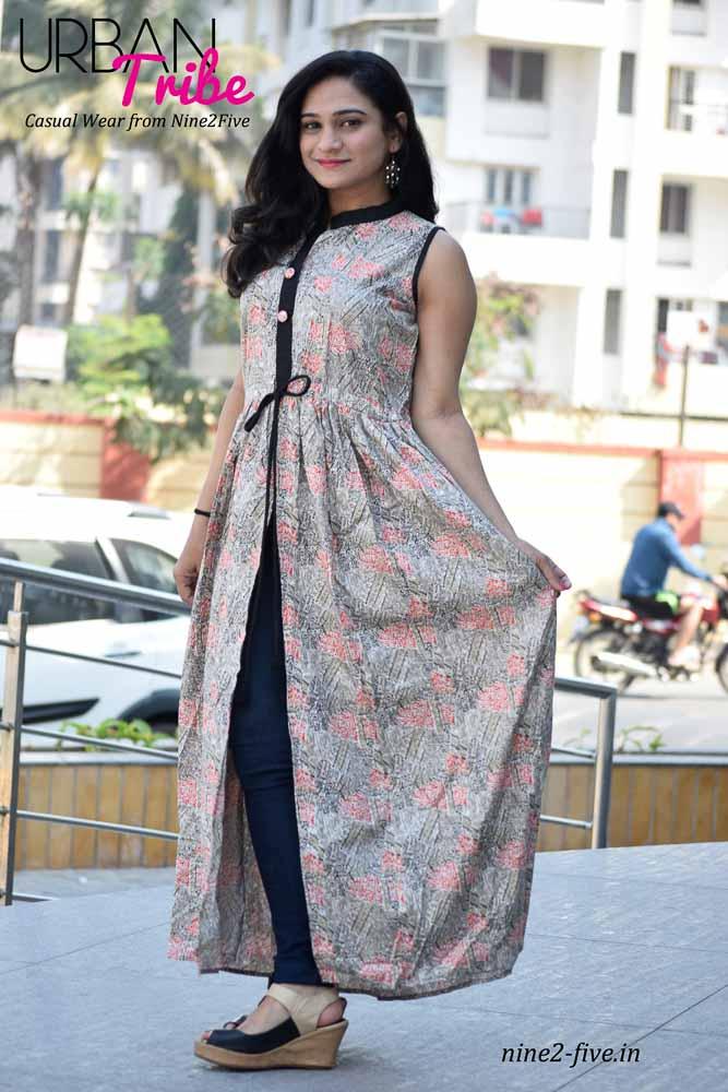 Nine2Five Long Dress, Long Dress, Floor Length Dress, Printed Long Dress, Rayon Long Dress, Cotton Long Dress, Sleeveless Floor Length Dress