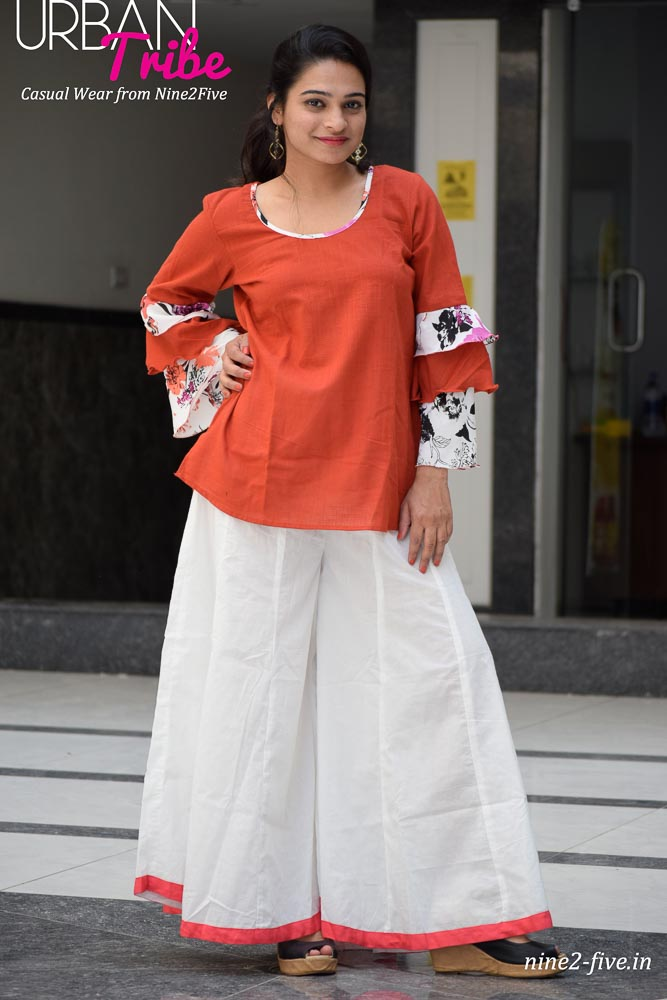Nine2Five Top, Top, Casual Top, Cotton Top, Rust Cotton Top, Layered Sleeves Top