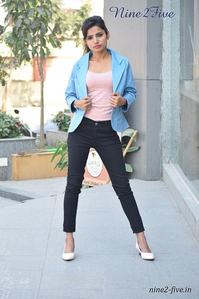 Nine2Five Blazer, Sky Blue Blazer, Cotton Spandex Blazer, Women's Blazer