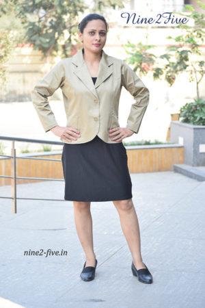 Nine2Five Blazer, Beige Blazer, Cotton Spandex Blazer, Women's Blazer