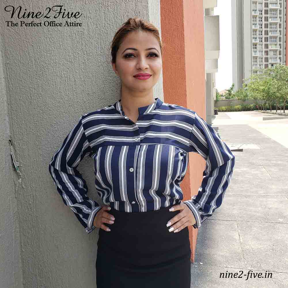 Navy Blue, White striped Shirt, Formal Shirt, Full Sleeves Shirt, Polymoss Shirt.