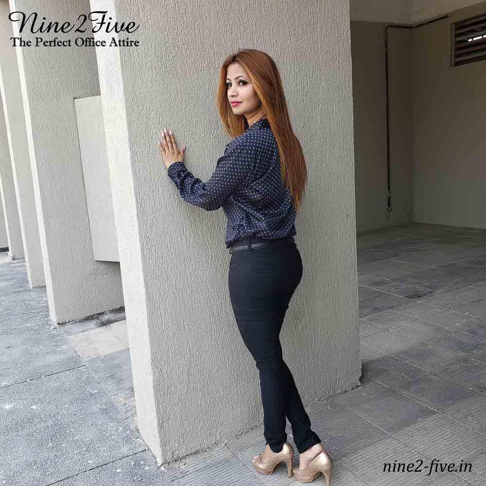Nine2Five Shirt, Black Shirt, Formal Shirt, Satin Shirt, Dotted Formal Shirt