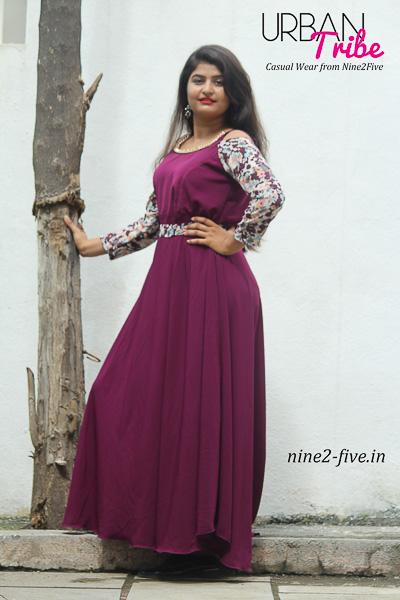 Nine2Five Long Dress, Long Dress, Floor Length Dress, Flared Long Dress, Wine Color Dress, Cold Shoulder Dress