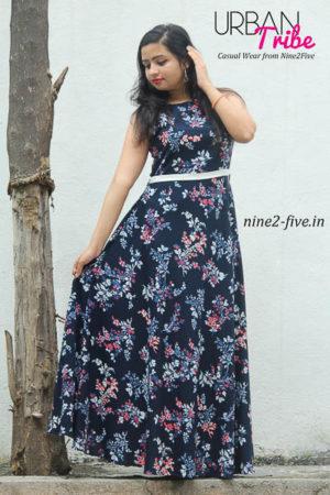 Nine2Five Long Dress, Long Dress, Floor Length Dress, Flared Long Dress, Printed Long Dress, Blue Long Dress, Shoulderless Dress