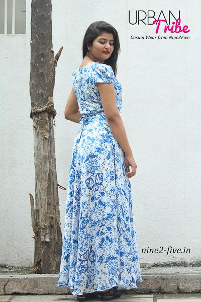 Nine2Five Long Dress, Long Dress, Floor Length Dress, Flared Long Dress, Satin Long Dress, Dull Satin Long Dress, Floral Printed Long Dress