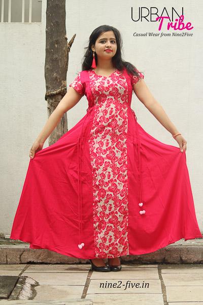 Nine2Five Long Dress, Long Dress, Flared Long Dress, Floor Length Dress, Red Color Long Dress, Cherry Color Long Dress