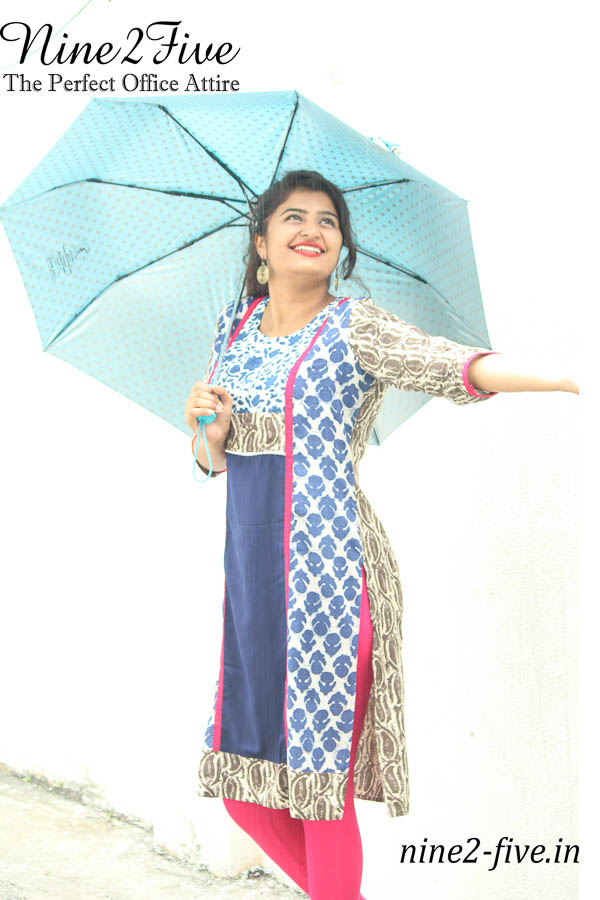 Nine2Five Multi Colour Printed Paneled, Rayon Cotton Straight Fit Kurti , Work wear , Formal Kurtis , Cotton Kurtis , Daily wear