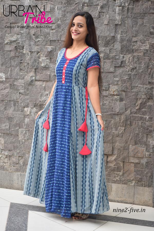 Nine2Five Long Dress.Long Dress, Blue Long Dress, Blue Printed Long Dress, Printed Long Dress, Floor Length Dress.