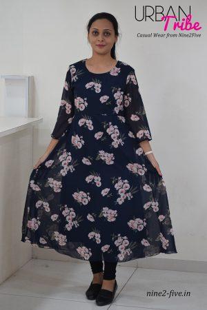Nine2Five Short Dress,Short Dress, Blue Short Dress, Blue Printed Short Dress, Printed Short Dress.