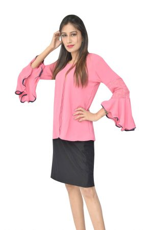 Nine2Five Pink Polymoss Front Pleated Top With Flared Sleeves.