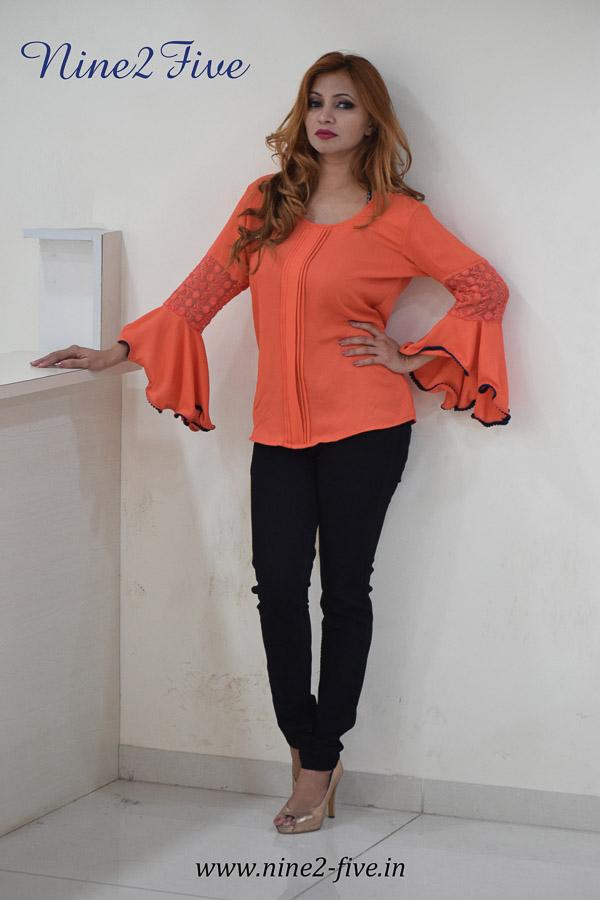 Nine2Five Top, Formal Top, Pleated Top, Orange Top, Flared Sleeves Top.