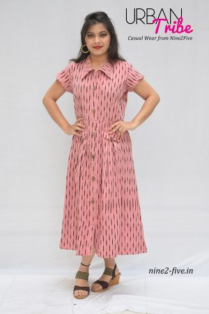 Nine2Five Midi Dress, Midi Dress, Ikat Midi Dress, Pink Midi Dress, Pink Ikat Midi Dress, Printed Midi Dress