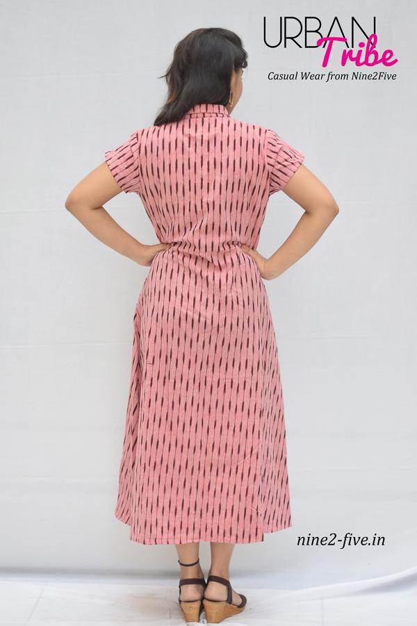Nine2Five Midi Dress, Midi Dress, Ikat Midi Dress, Pink Midi Dress, Pink Ikat Midi Dress, Printed Midi Dress
